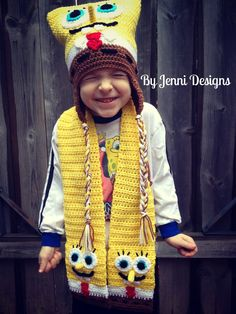 By Jenni Designs: Free Crochet Pattern: Spongebob Squarepants Inspired Hat
