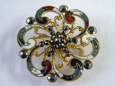Antique Victorian Enamel & Brass Metal Button w/Star Cut Steels & Cloisonne