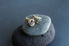 Druzy Stud Earrings in 14k Gold Fill  Blue Druzy by MordakkDesigns, $33.00