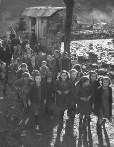 Civil War/Greece Kids arriving at the new school built on the loft in the church.Location:Louzesti, Greece Date taken:December 1947 Photographer:John Phillips Greece Pictures, Old Pictures, Old Photos, Vintage Photos, Greece Photography, Still Photography, Black N White Images, Black And White, Perfect Beard