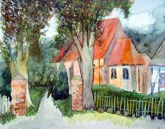 Middelhagen im Herbst | Kirche in Middelhagen (c) Aquarell von Frank Koebsch