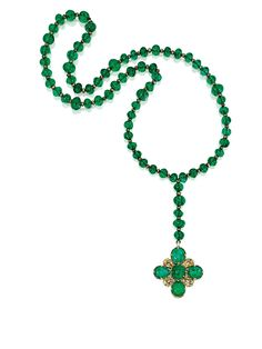 Emerald, diamond and enamel rosary, once owned by Queen Maria Antoinette (1805-1877).