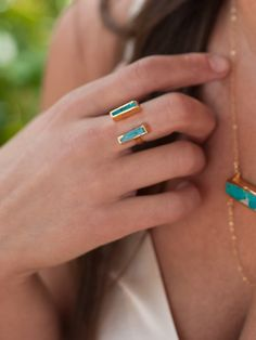 turquoise double bar ring @rrjewelry