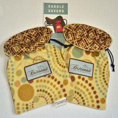 Mustard Circles Saddle Savers with printed fabric lining
