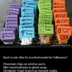 chocolate chips as witches warts mini marshmallows as ghost poop cinnamon toast crunch as monster scabs candy corn as pumpkin teeth