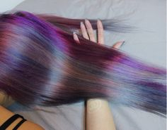 Long hair, ombre hairstyle, pink purple blue hair