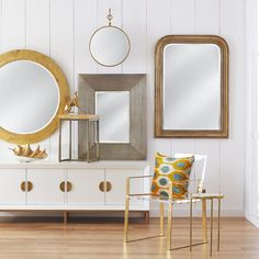 Feature a one-of-a-kind round gold leaf suspended mirror in your home with ease. This piece comes with a mounting hook so you can create dimension on your wall. Beveled Edge Mirror, New Farm, Beautiful Mirrors, Traditional Furniture, Round Mirrors, Bathroom Interior, Gold Leaf, Home Accessories, Flooring