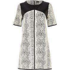 Black snake leather-look yoke shift dress £35.00