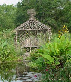 Rustic gazebo at the pond
