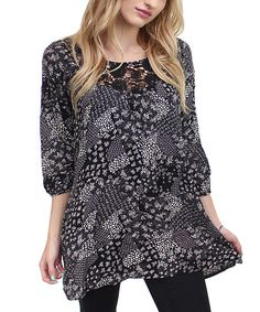 Flawless Black & White Floral Lace Tunic | zulily