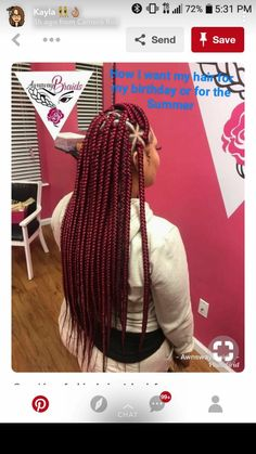 there's sure to be a burgundy box hairstyle which will suit your taste. Here are Must-Have Burgundy Box Braids Hairstyles 2019 For Africans. Burgundy Box Braids, Red Box Braids, Short Box Braids, Blonde Box Braids, Black Girl Braids, Box Braids Styling, Girls Braids, Medium Box Braids, Large Box Braids