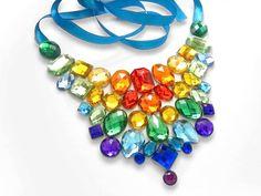 Sparkling Rainbow with Clouds | Jeweled Rainbow Rhinestone Statement Bib Necklace