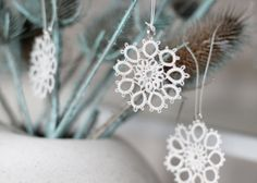 a white Christmas  handmade tatted snowflakes  set of 6