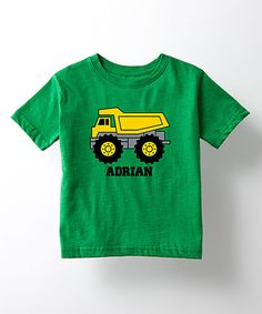 Look at this Kelly Green & Yellow Truck Personalized Tee - Toddler & Boys on #zulily today!