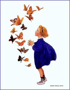 """""""Butterfly, butterfly, whence do you come?"""" (1912) by Jessie Willcox Smith from """"The Little Mother Goose"""" by Plum leaves (in), via Flickr"""