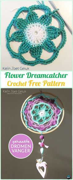 Crochet Flower DreamCatcher Free Patterns - #Crochet Dream Catcher Free Patterns