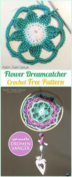 Crochet Flower DreamCatcher Free Patterns - #Crochet Dream Catcher Free Patterns