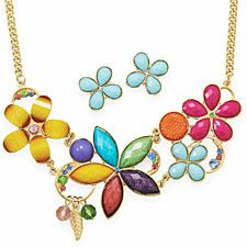 COLOR GALORE! Multicolor Flower Fashion Necklace and Earring Set