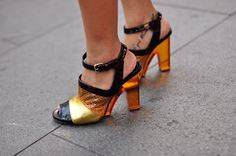 Heels from the Dries Van Noten Fall 2011 collection as worn by Yi Lian Ng, Associate Editor for Harper's BAZAAR .