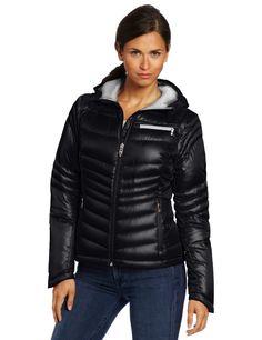 Spyder Womens Timeless Hoody Down Jacket, Black/Silver, Small
