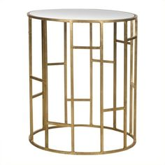 Safavieh Doreen Iron and Mirror Accent Table ($156) ❤ liked on Polyvore featuring home, furniture, tables, accent tables, mirrored furniture, iron table, mirrored accent table, top table and gold leaf furniture