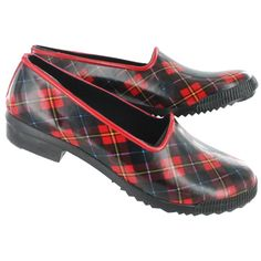 Cougar Women's RUBY red/black plaid rubber loafers RUBY-RDPLD