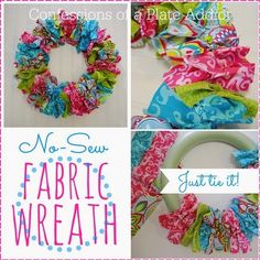 Easy No-Sew Spring Fabric Wreath - Diy and Crafts Diy And Crafts Sewing, New Crafts, Crafts For Teens, Easter Crafts, Fabric Crafts, Adult Crafts, Easter Dyi, Easter Stuff, Easter Peeps