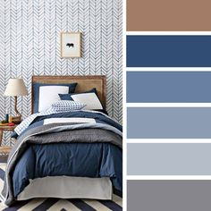 100 Color Inspiration Schemes : Gray + Navy Blue Color Palette #color #palette #navyblue #bedroomcolor