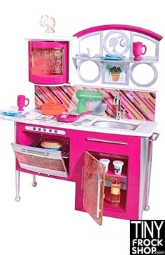 Barbie Stovetop To Tabletop. Deluxe Kitchen and Doll Set: This set is CUTENESS! Super glittery and modern. The Barbie Deluxe Furniture and Doll collection introduces special surprise transformation fe