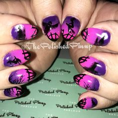 Pink to purple ombré nails with dark Halloween scene! One of my favorites this year for sure!!