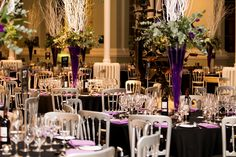 Tall table centres at The National Museums Scotland, Grand Gallery.