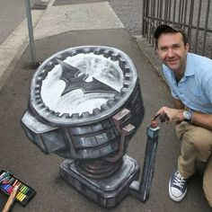 3d street chalk art !! This looks like its coming out if the ground!