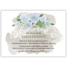 c08f5af37646 Watercolor Blue Flowers Bridal Shower Invitations