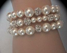 Conjunto pulsera de perlas y diamantes de imitación / / 3 hilos / / grueso / / novia joyas / / damas / boda / / joyería Formal / / regalo / /