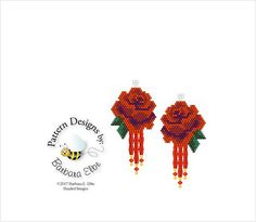 """Red Rose Beaded Earring Pattern Peyote or Brick Stitch #34-ER Made to Matches Red Rose Amulet Purse Pattern #34 This pattern is made using Size 11/0 Delica Beads Stitch: Brick or Peyote Width: 1"""" Length: 1"""" (Including Ear wire) Colors: 6 This PATTERN is in PDF format downloadable"""