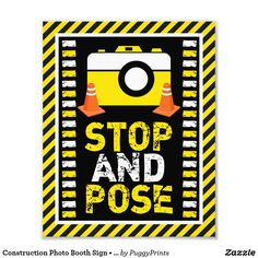 Construction Photo Booth Sign Stop and Pose Photo Prop Sign in the Construction Birthday Party Theme 8 x 10 Print construction cone orange cone yellow camera birthday party theme prop booth sign stop pose white boys boy kids family diy Under Construction Theme, Construction Party Decorations, Construction Crafts, Construction Birthday Parties, Construction Signs, 2nd Birthday Party For Boys, 1st Birthday Chalkboard, Themes Photo, Party Signs