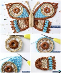 Popcorn Stitch Crochet Butterfly Free Pattern #Crochet