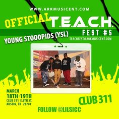 AUSTIN TX THIS YEAR IS THE YEAR FOR #TEACHFEST5 TO TAKE IT TO THE NXT LEVEL. WE ARE PROUD TO PRESENT #youngstoopids __TO #2016 #TEACHFEST CREATED BY @faacapo n #LILSICC This Year We Are Powered By #hiphopweeklymagazine . An of course My Boyz @dkaneofficial an the 1 an Only @bitchitslilchris .We have over 50Companies involved an All n attendance Mar 18th n 19th Club 311 e 6th st #Austin #Tx During #SOUTHBYSOUTHWEST FROM 2pm - 2am <<S/O Our Official sponsor #Treasuresaustin @treasuresaustin…