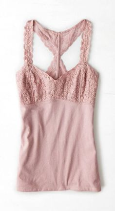Rose AEO Lace Back Muscle Tank