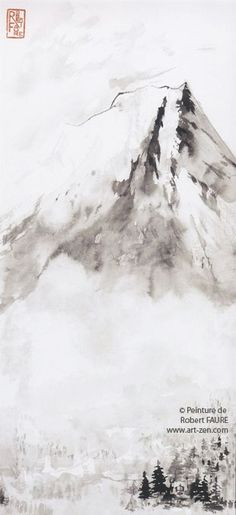 Robert Faure Peinture tchan et Sumi-e Japanese Painting, Chinese Painting, Zen, Mountain Drawing, World View, Traditional Paintings, Ink Painting, Aesthetic Art, Asian Art