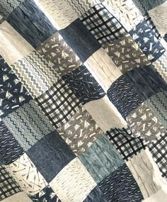 King Patchwork Quilt, w/ Designer Fabrics, Blue Grey White, A Day At The Lake Collection, Wilmington Prints Baby Girl Quilts, Girls Quilts, Fabric Design, Quilt Design, Twin Quilt Size, Whole Cloth Quilts, Keepsake Quilting, Patchwork Baby, Wilmington Prints