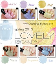 Spring 2013 Zoya Lovely Collection Swatches & Review via kSquaredGlamour
