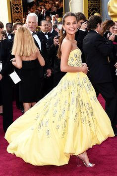 Alicia Vikander in custom Louis Vuitton attending the 88th Annual Academy Awards at Hollywood & Highland Center on February 28, 2016 in Hollywood, California.
