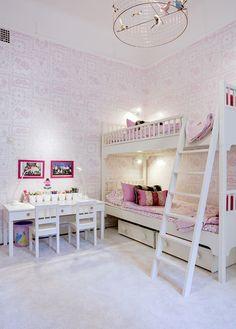 girly bedroom- love the desks