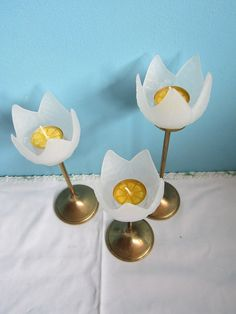 3 Brass and frosted glass  Tulip Candle Holders by GingerNIrie