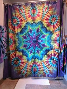 Fantastic Pics Tie-Dyed Shower Curtain Tips With this simple reservoir top dress, I decided to employ a dark shade, a nickel color, and a borde Tie Dye Bedroom, Tie Dye Bedding, Tie Dye Curtains, Diy Curtains, Curtain Ties, Hippie Curtains, Shower Curtains, Tye Dye, Mandala Shower Curtain