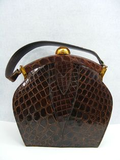 Vintage croc bag c. 1940 designer bags and handbags purses Gucci Handbags, Handbags On Sale, Luxury Handbags, Fashion Handbags, Purses And Handbags, Fashion Bags, Leather Handbags, Leather Bag, Handbags Online