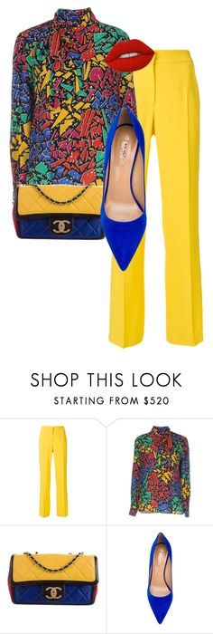 """Primary Colors"" by aletamaria ❤ liked on Polyvore featuring N°21, Yves Saint Laurent, Chanel, Aquazzura and Lime Crime"