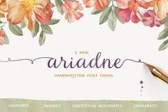 Ariadne Family by MyCreativeLand on @creativemarket. Price $34 #scriptfonts #calligraphicfonts #handwrittenfonts