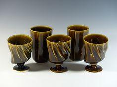 Cast porcelain goblets and tumbler.